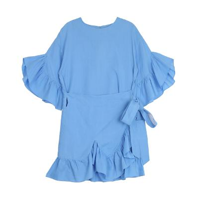 skyblue frill wrap dress 1